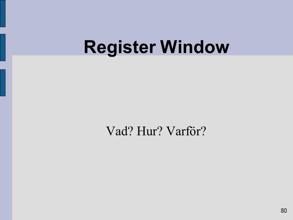 80 Register Window Vad? Hur? Varför?