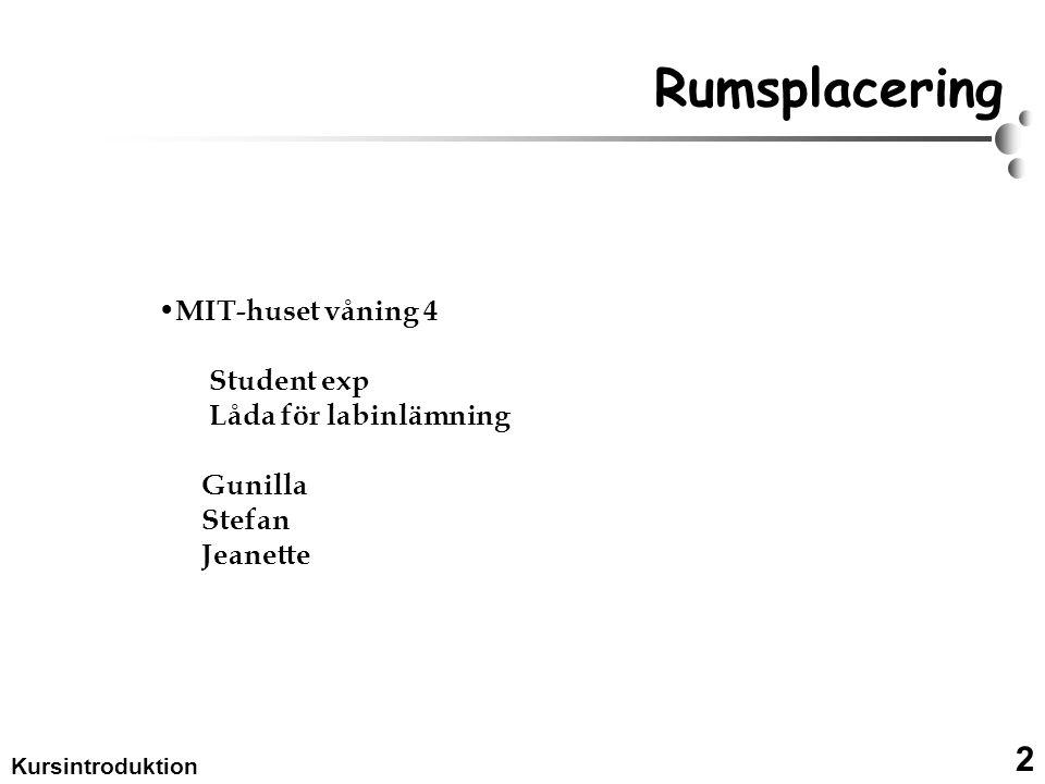 2 Kursintroduktion Rumsplacering MIT-huset våning 4 Student exp Låda för labinlämning Gunilla Stefan Jeanette