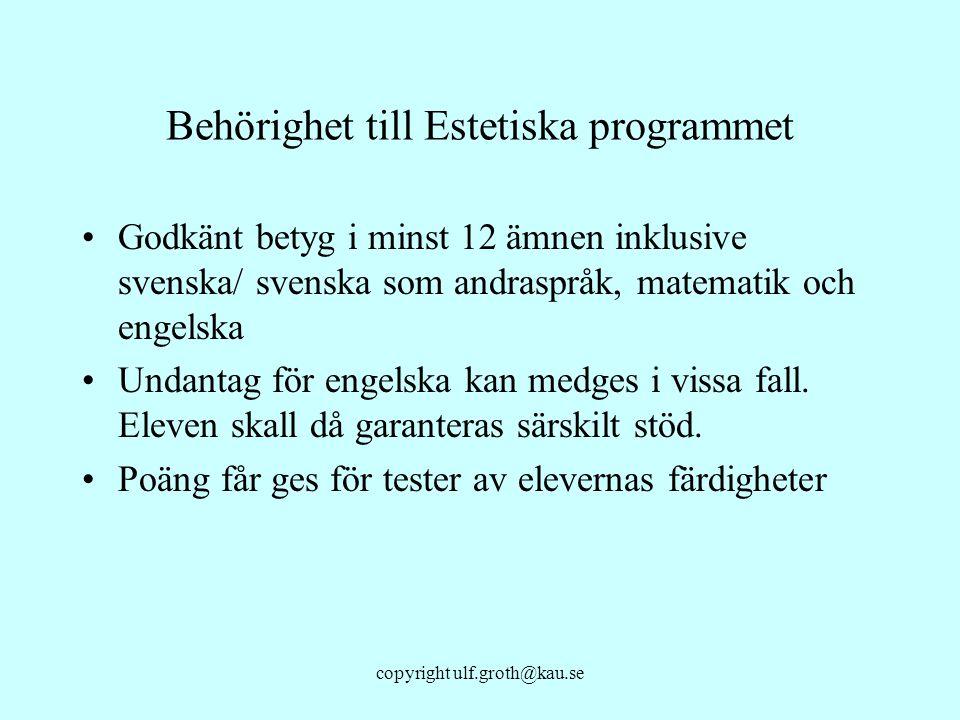 copyright ulf.groth@kau.se Behörighet till Estetiska programmet Godkänt betyg i minst 12 ämnen inklusive svenska/ svenska som andraspråk, matematik oc