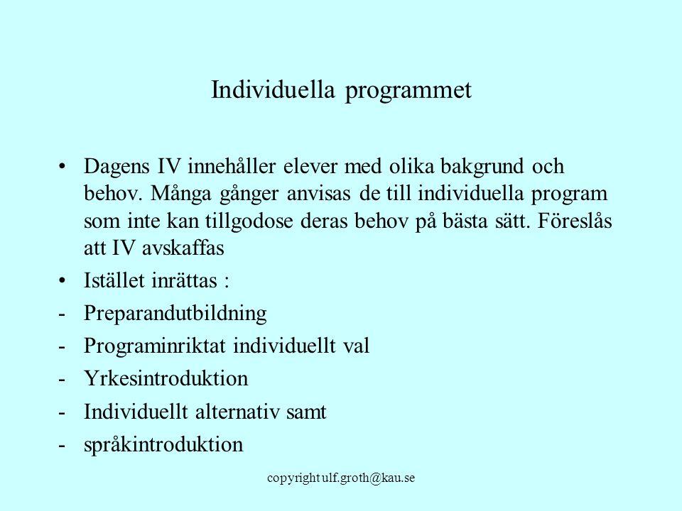 copyright ulf.groth@kau.se Individuella programmet Dagens IV innehåller elever med olika bakgrund och behov. Många gånger anvisas de till individuella