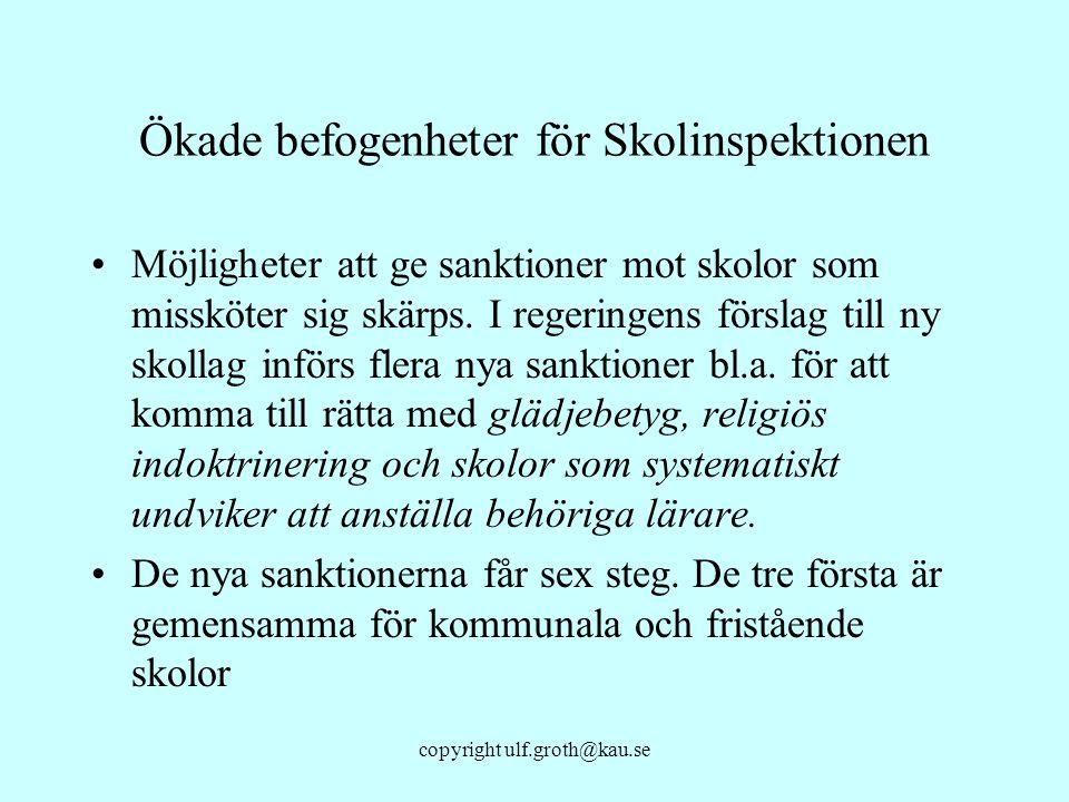copyright ulf.groth@kau.se Ökade befogenheter för Skolinspektionen Möjligheter att ge sanktioner mot skolor som missköter sig skärps. I regeringens fö