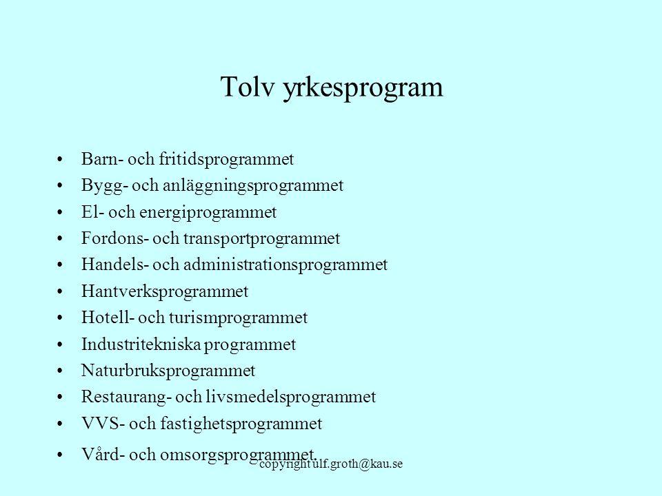 copyright ulf.groth@kau.se Tolv yrkesprogram Barn- och fritidsprogrammet Bygg- och anläggningsprogrammet El- och energiprogrammet Fordons- och transpo