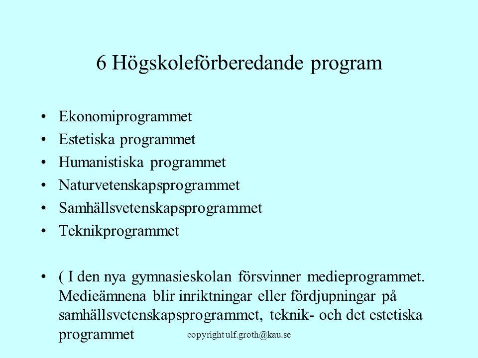 copyright ulf.groth@kau.se 6 Högskoleförberedande program Ekonomiprogrammet Estetiska programmet Humanistiska programmet Naturvetenskapsprogrammet Sam