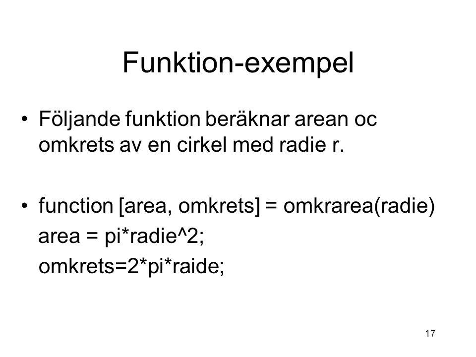 17 Funktion-exempel Följande funktion beräknar arean oc omkrets av en cirkel med radie r. function [area, omkrets] = omkrarea(radie) area = pi*radie^2