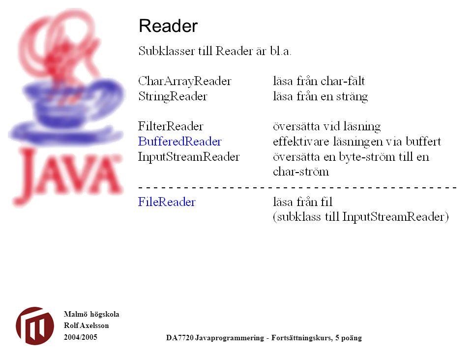 Malmö högskola Rolf Axelsson 2004/2005 DA7720 Javaprogrammering - Fortsättningskurs, 5 poäng Reader