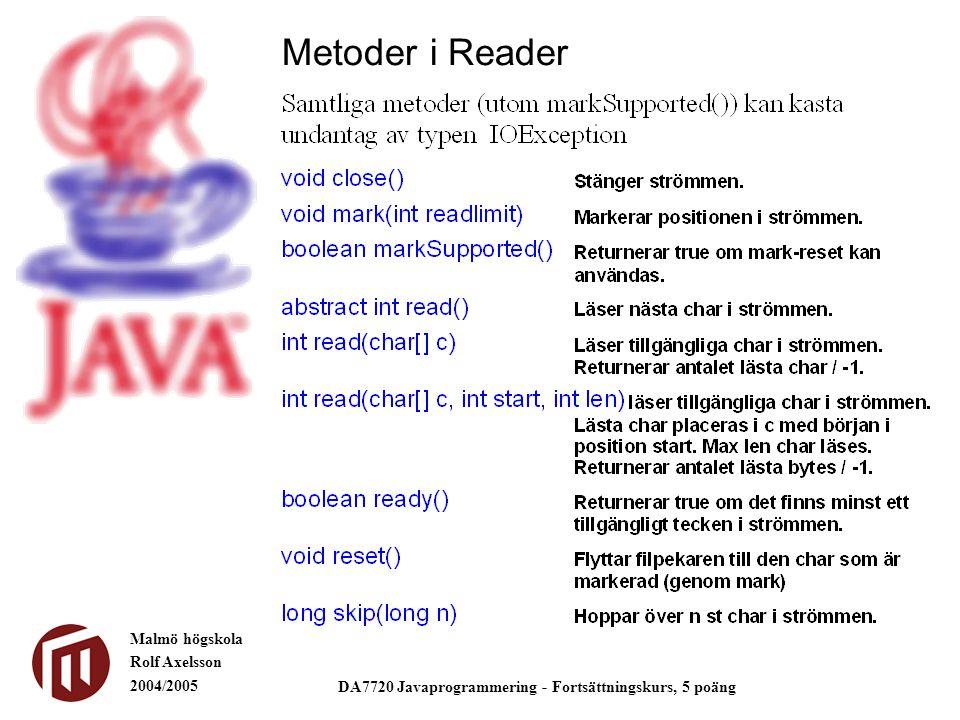 Malmö högskola Rolf Axelsson 2004/2005 DA7720 Javaprogrammering - Fortsättningskurs, 5 poäng Metoder i Reader