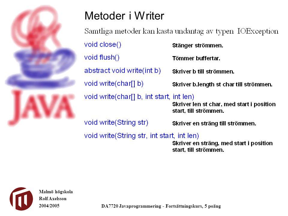 Malmö högskola Rolf Axelsson 2004/2005 DA7720 Javaprogrammering - Fortsättningskurs, 5 poäng Metoder i Writer