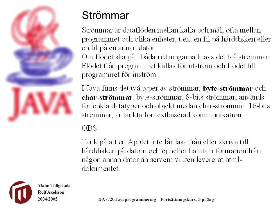 Malmö högskola Rolf Axelsson 2004/2005 DA7720 Javaprogrammering - Fortsättningskurs, 5 poäng Strömmar