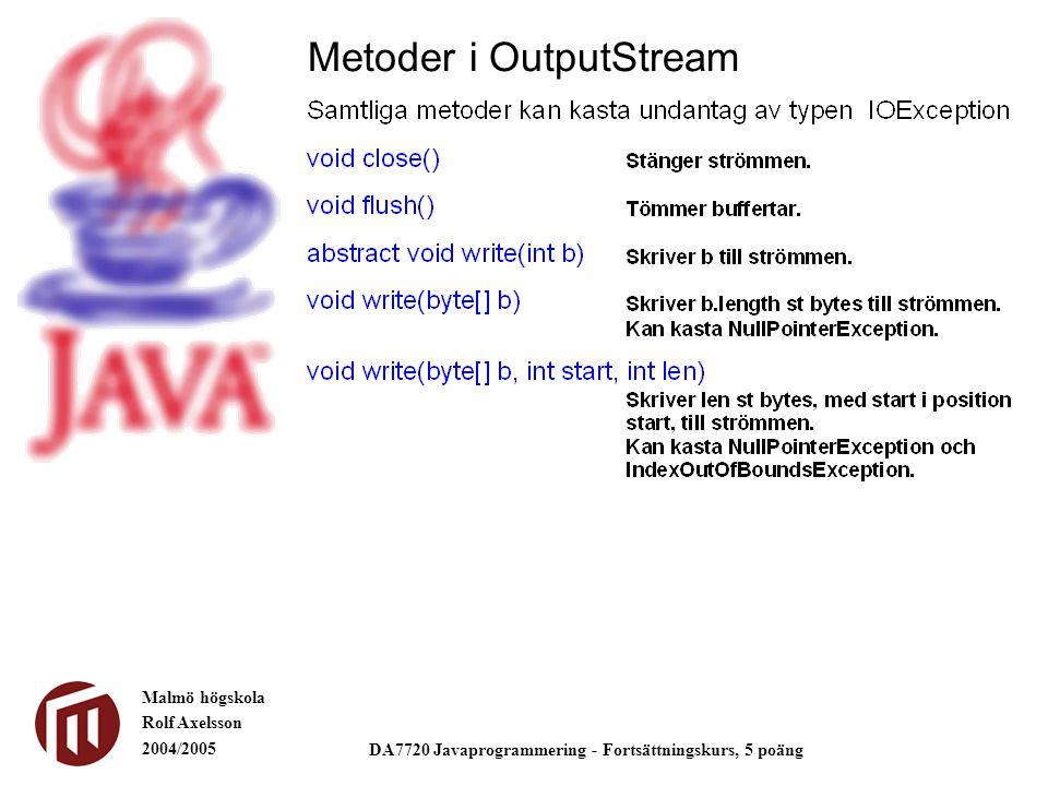 Malmö högskola Rolf Axelsson 2004/2005 DA7720 Javaprogrammering - Fortsättningskurs, 5 poäng Metoder i OutputStream