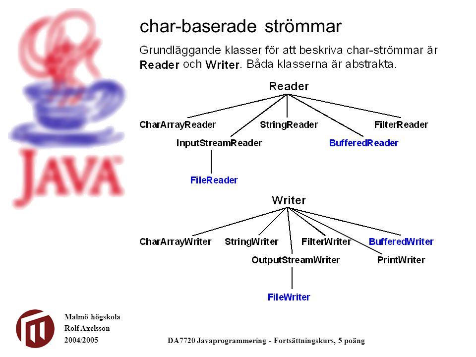 Malmö högskola Rolf Axelsson 2004/2005 DA7720 Javaprogrammering - Fortsättningskurs, 5 poäng char-baserade strömmar