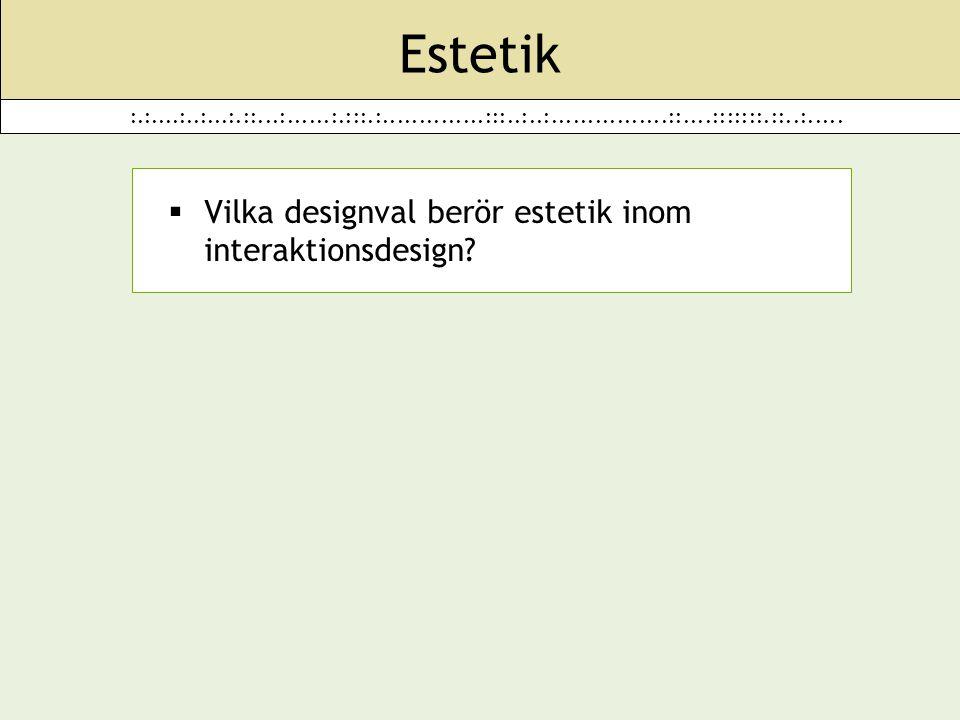 :.:....:..:...:.::...:......:.:::.:..............:::..:..:................::....:::::::.::..:..... Estetik  Vilka designval berör estetik inom intera