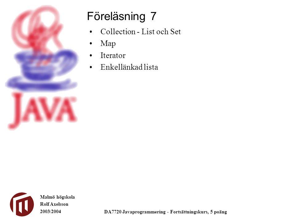 Malmö högskola Rolf Axelsson 2003/2004 DA7720 Javaprogrammering - Fortsättningskurs, 5 poäng Collection - List och Set Map Iterator Enkellänkad lista