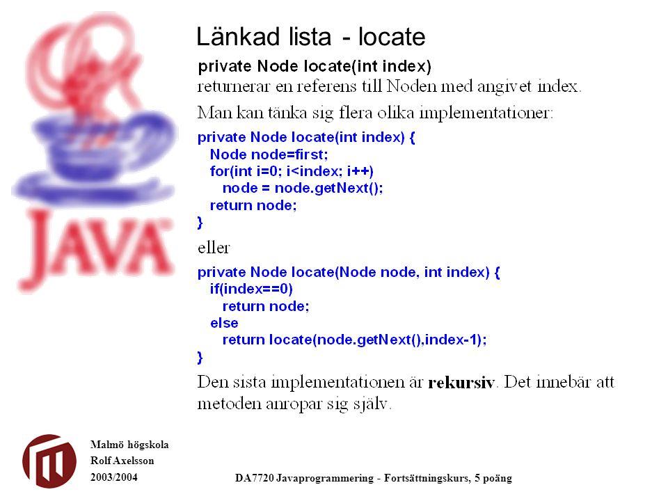Malmö högskola Rolf Axelsson 2003/2004 DA7720 Javaprogrammering - Fortsättningskurs, 5 poäng Länkad lista - locate