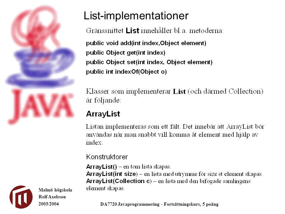 Malmö högskola Rolf Axelsson 2003/2004 DA7720 Javaprogrammering - Fortsättningskurs, 5 poäng List-implementationer
