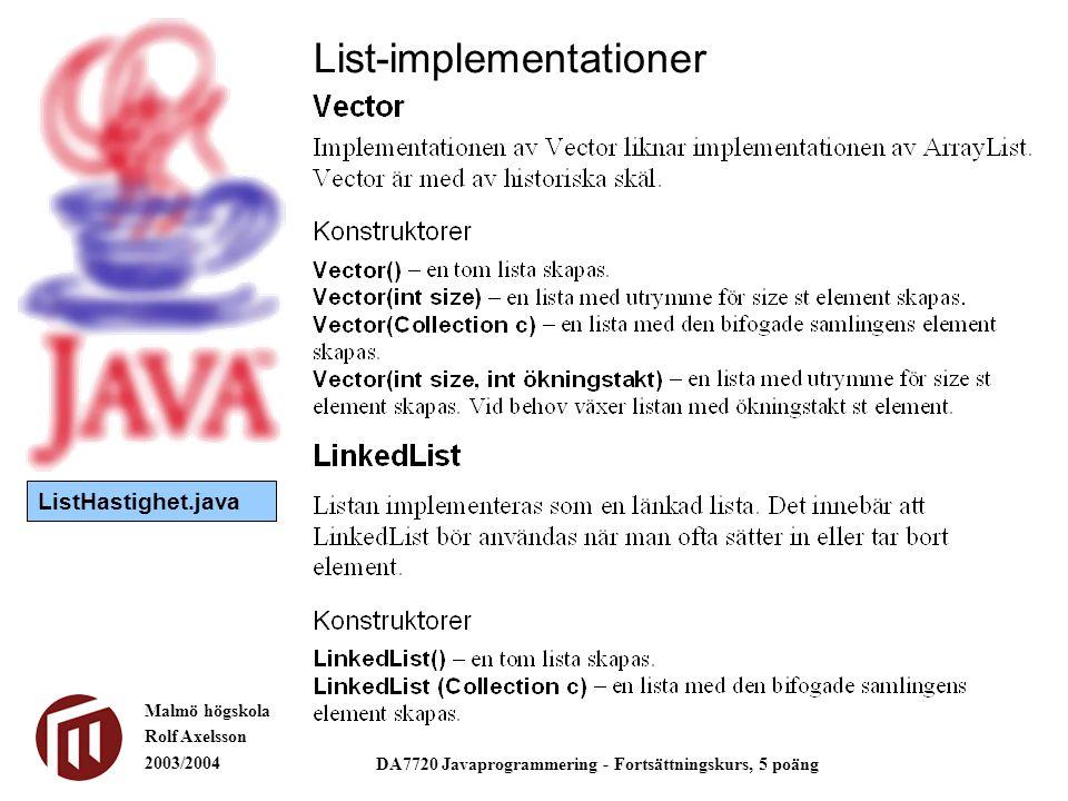 Malmö högskola Rolf Axelsson 2003/2004 DA7720 Javaprogrammering - Fortsättningskurs, 5 poäng List-implementationer ListHastighet.java