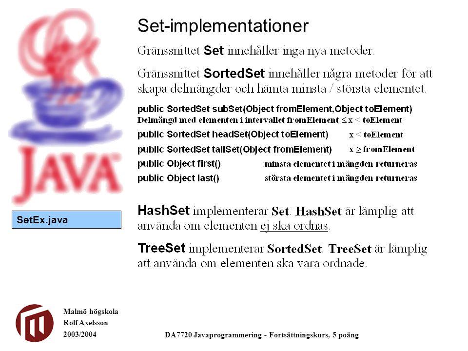 Malmö högskola Rolf Axelsson 2003/2004 DA7720 Javaprogrammering - Fortsättningskurs, 5 poäng Set-implementationer SetEx.java
