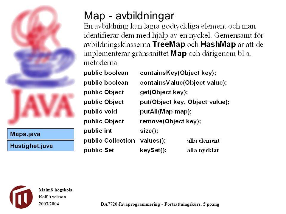 Malmö högskola Rolf Axelsson 2003/2004 DA7720 Javaprogrammering - Fortsättningskurs, 5 poäng Map - avbildningar Maps.java Hastighet.java