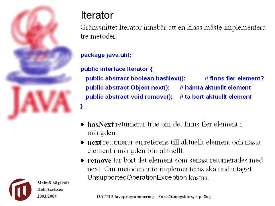 Malmö högskola Rolf Axelsson 2003/2004 DA7720 Javaprogrammering - Fortsättningskurs, 5 poäng Iterator