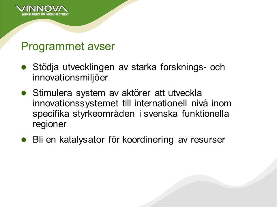 RIS VINNOVA-aktuellt Konkurrenskraftiga regioner VINNVÄXT 400 + 400 Mkr under 10 år Fåtal regioner, 4-6 Fokusering till område med tillväxtpotential T