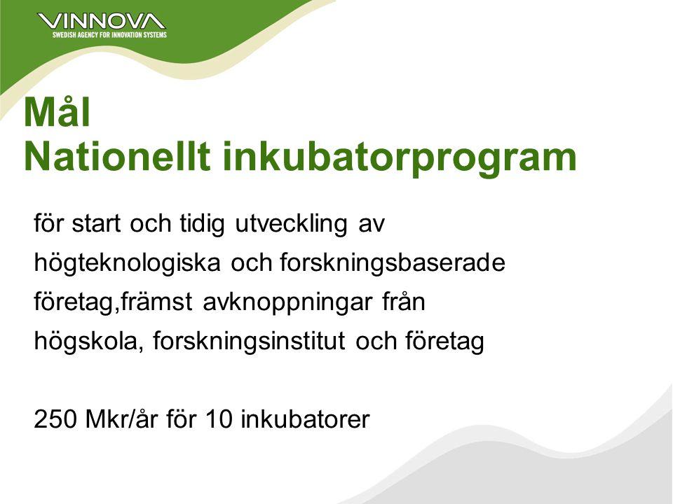 VINNOVA-aktuellt Forskningsbaserade företag, befintliga och nya 1. FoU-program, kompetenscentra Staten/VINNOVA och näringslivet 2. Sådd och inkubatore