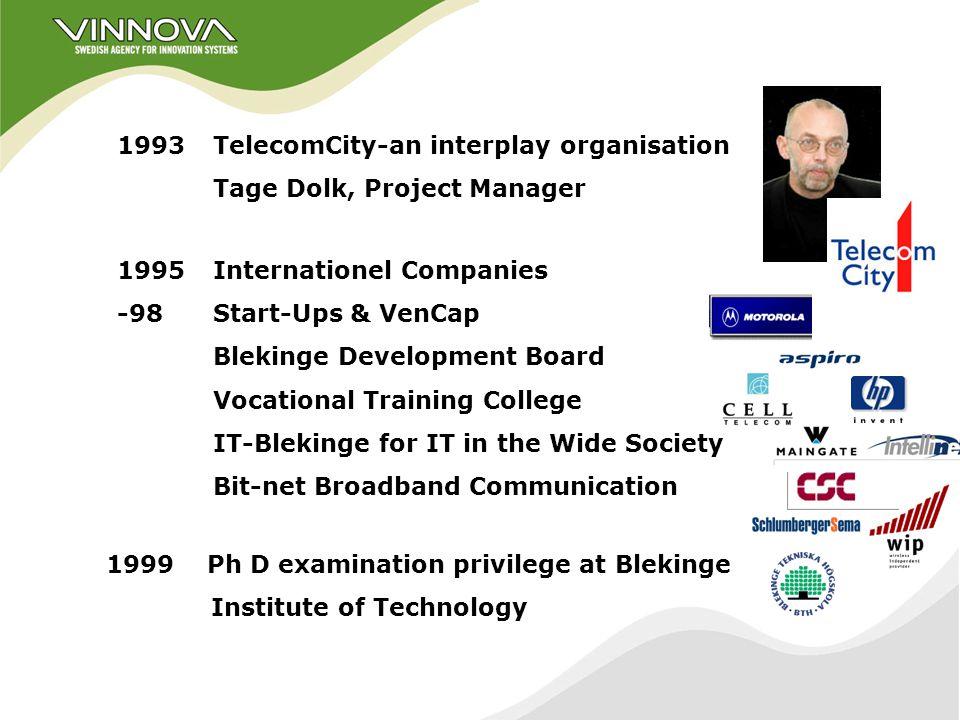 Blekinge Modern History 1990 Europolitan Vodafone new GSM operator 1990Ericsson starts Software Technology Profile.