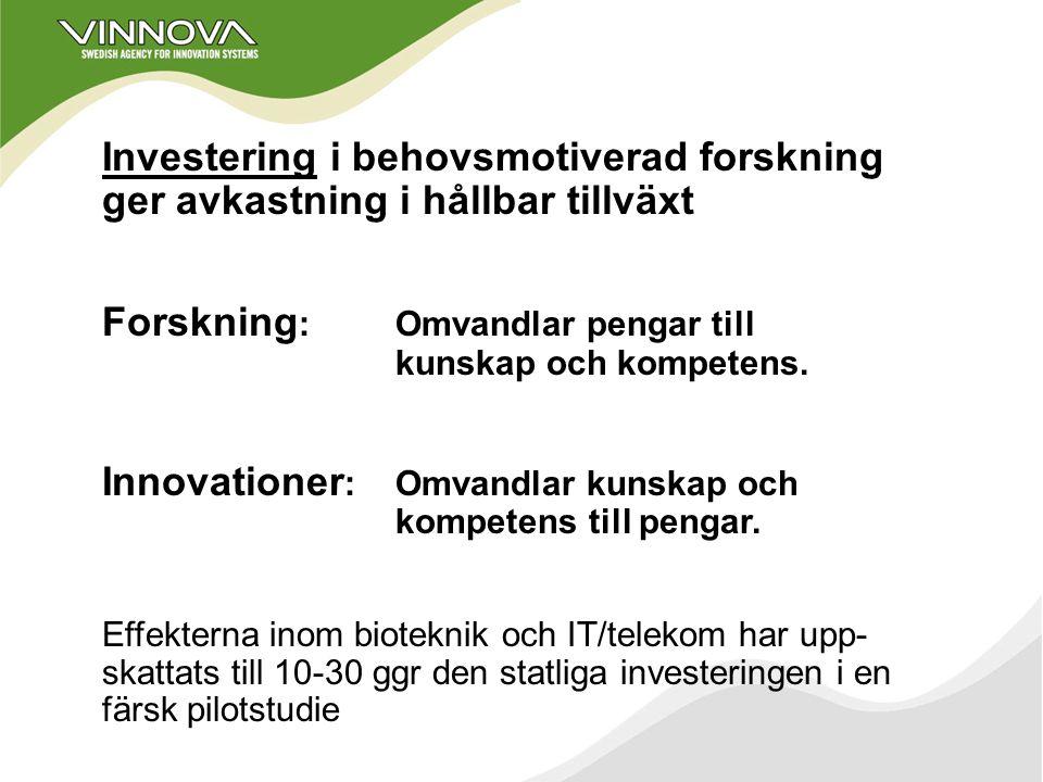 att främja hållbar tillväxt genom finansiering av behovsmotiverad forskning och utveckling av effektiva innovationssystem VINNOVAs uppgift är