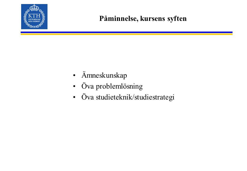 Påminnelse, kursens syften Ämneskunskap Öva problemlösning Öva studieteknik/studiestrategi