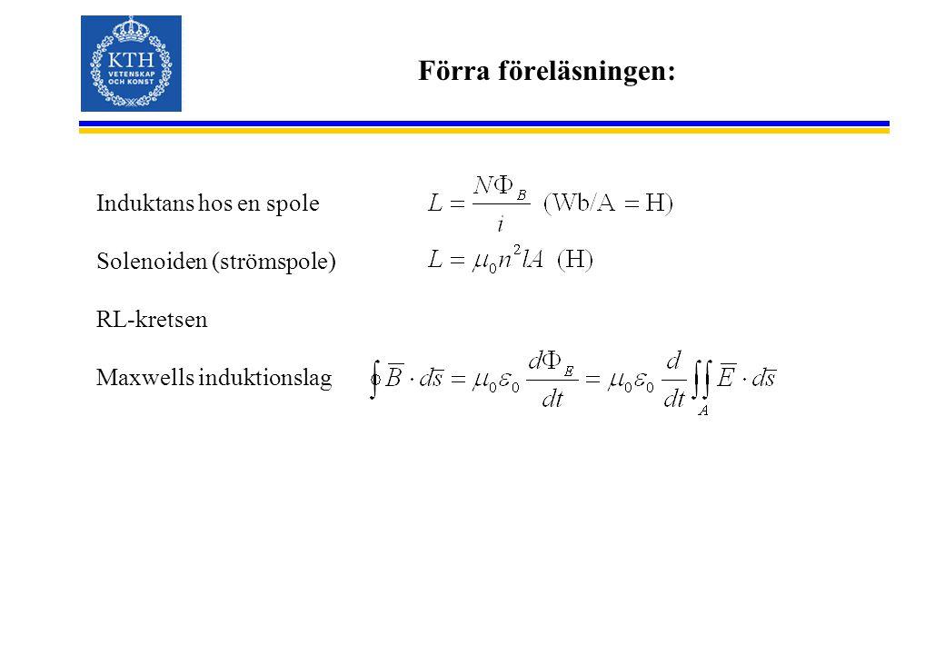 Förra föreläsningen: Induktans hos en spole Solenoiden (strömspole) RL-kretsen Maxwells induktionslag