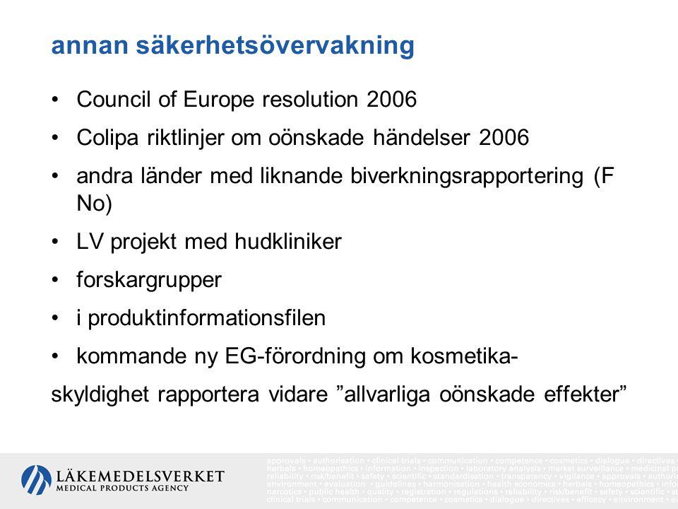 annan säkerhetsövervakning Council of Europe resolution 2006 Colipa riktlinjer om oönskade händelser 2006 andra länder med liknande biverkningsrapportering (F No) LV projekt med hudkliniker forskargrupper i produktinformationsfilen kommande ny EG-förordning om kosmetika- skyldighet rapportera vidare allvarliga oönskade effekter