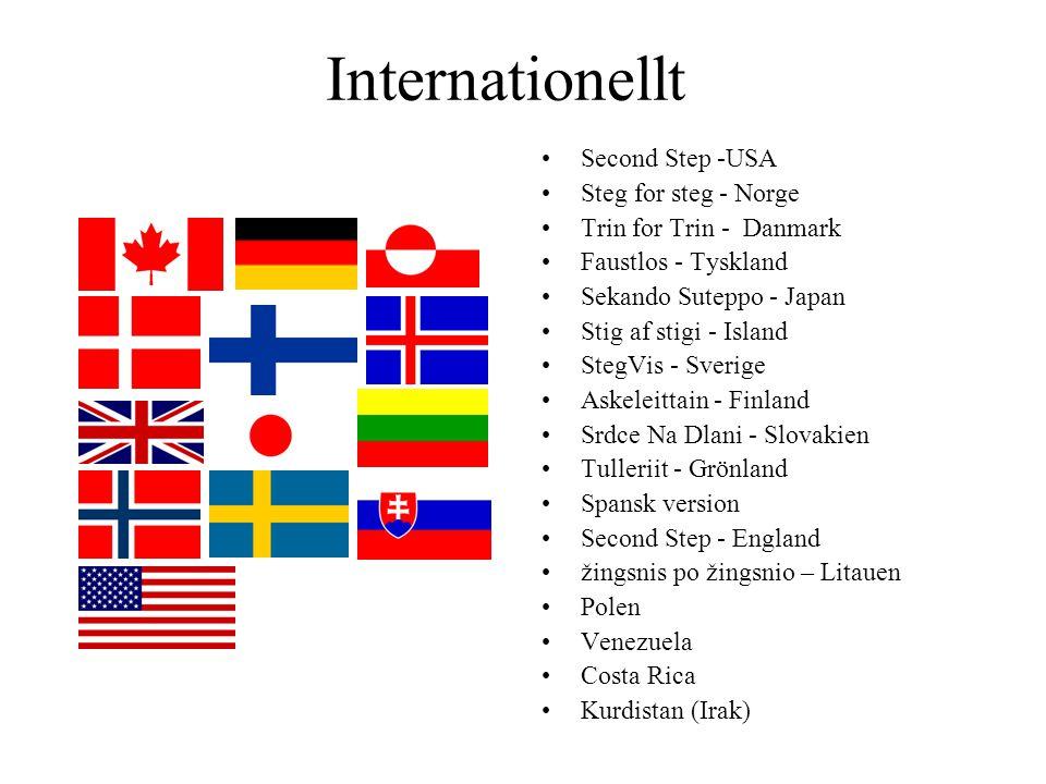 Internationellt Second Step -USA Steg for steg - Norge Trin for Trin - Danmark Faustlos - Tyskland Sekando Suteppo - Japan Stig af stigi - Island Steg