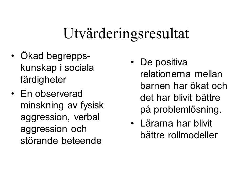 Utvärderingsresultat Ökad begrepps- kunskap i sociala färdigheter En observerad minskning av fysisk aggression, verbal aggression och störande beteend