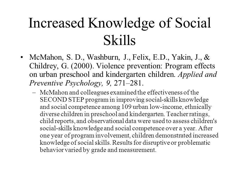 Increased Knowledge of Social Skills McMahon, S. D., Washburn, J., Felix, E.D., Yakin, J., & Childrey, G. (2000). Violence prevention: Program effects