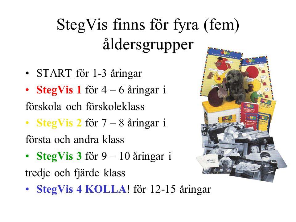 StegVis finns för fyra (fem) åldersgrupper START för 1-3 åringar StegVis 1 för 4 – 6 åringar i förskola och förskoleklass StegVis 2 för 7 – 8 åringar