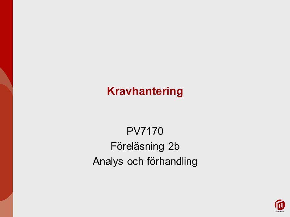 Kravhantering PV7170 Föreläsning 2b Analys och förhandling