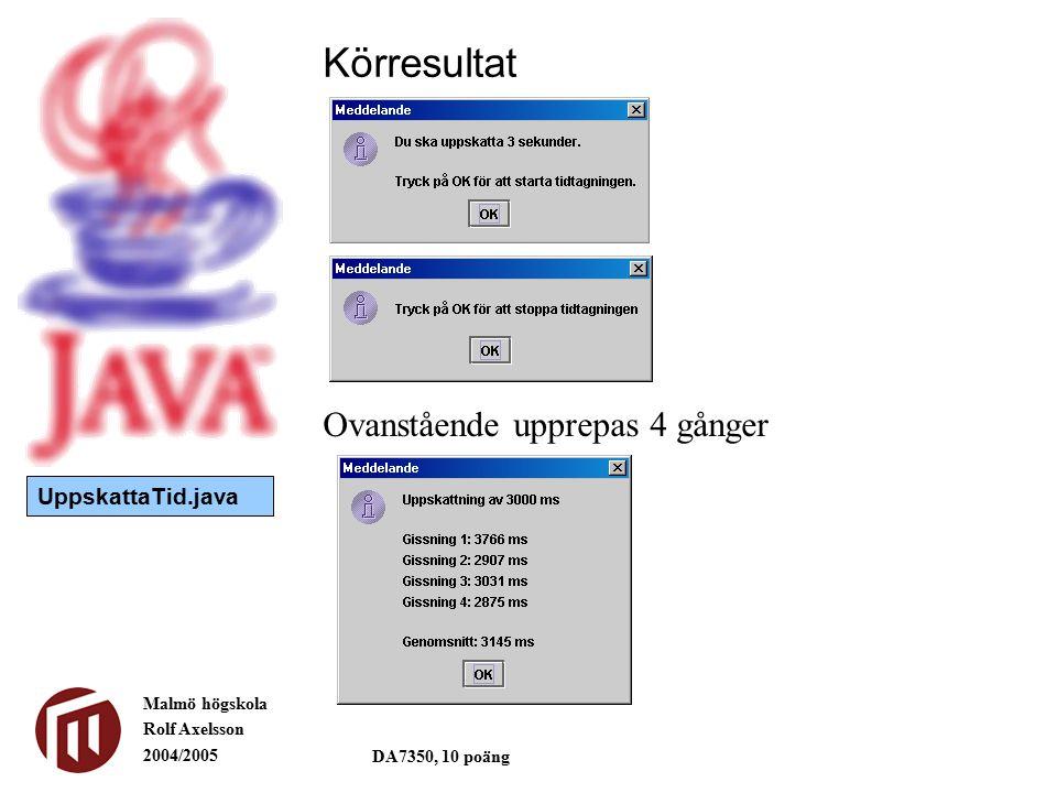 Malmö högskola Rolf Axelsson 2004/2005 DA7350, 10 poäng Körresultat UppskattaTid.java Ovanstående upprepas 4 gånger