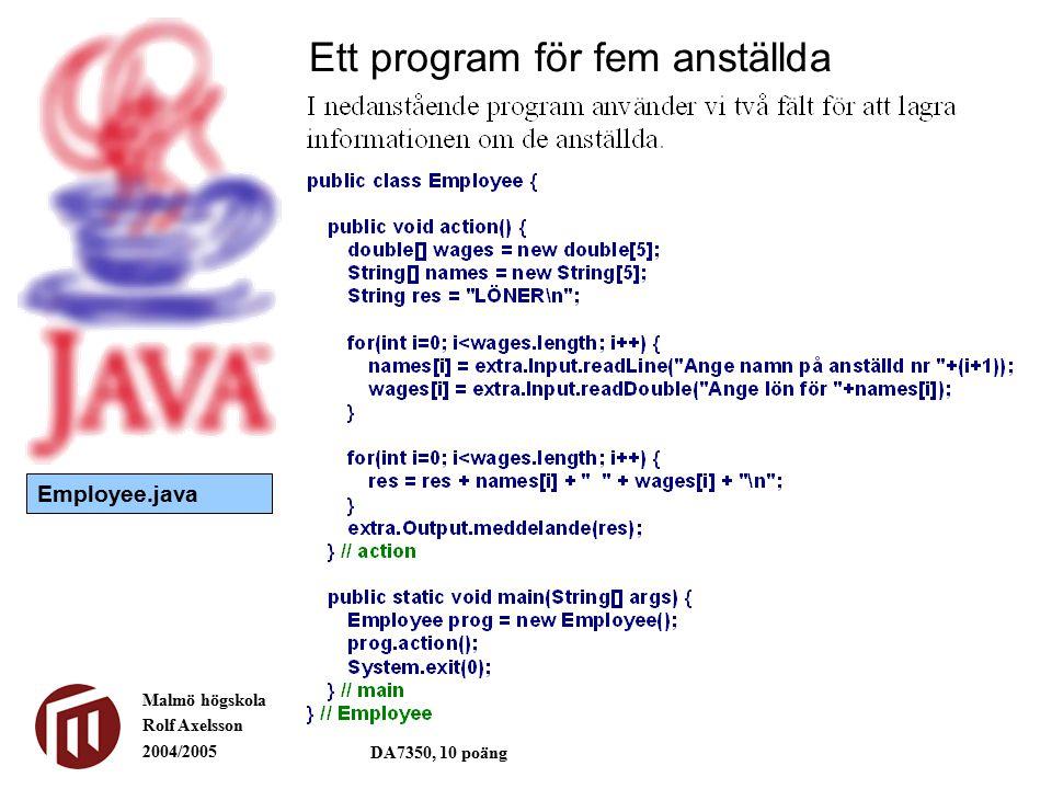Malmö högskola Rolf Axelsson 2004/2005 DA7350, 10 poäng Ett program för fem anställda Employee.java