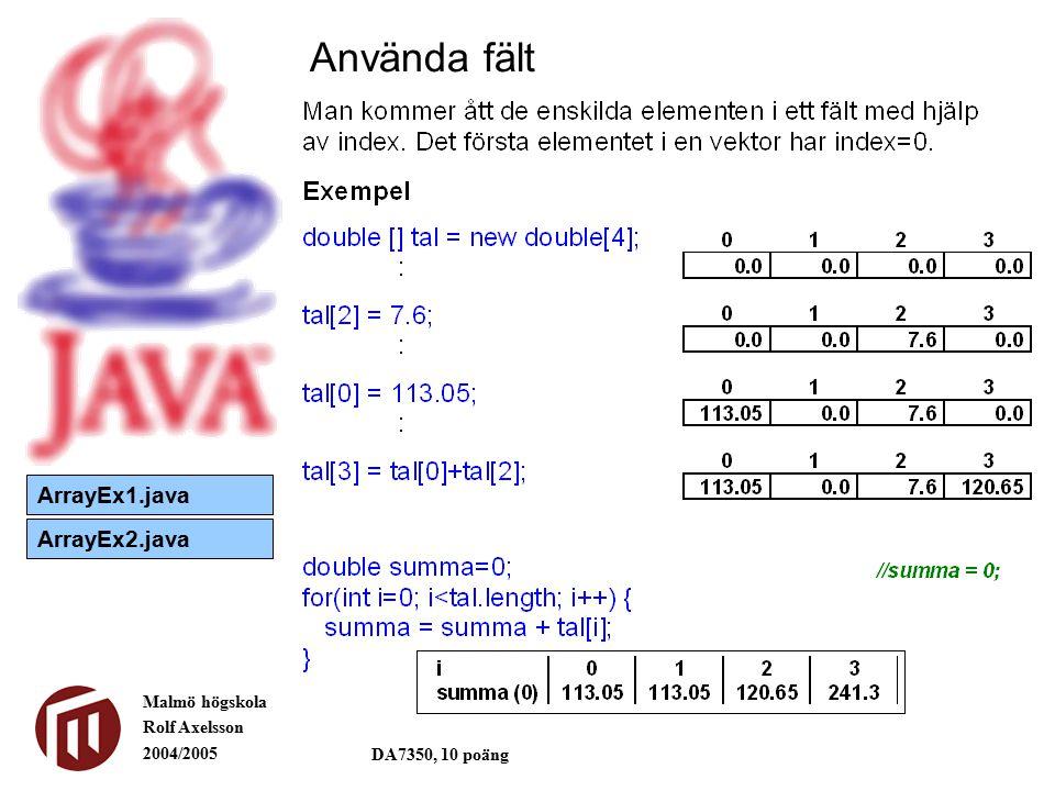 Malmö högskola Rolf Axelsson 2004/2005 DA7350, 10 poäng Använda fält ArrayEx1.java ArrayEx2.java