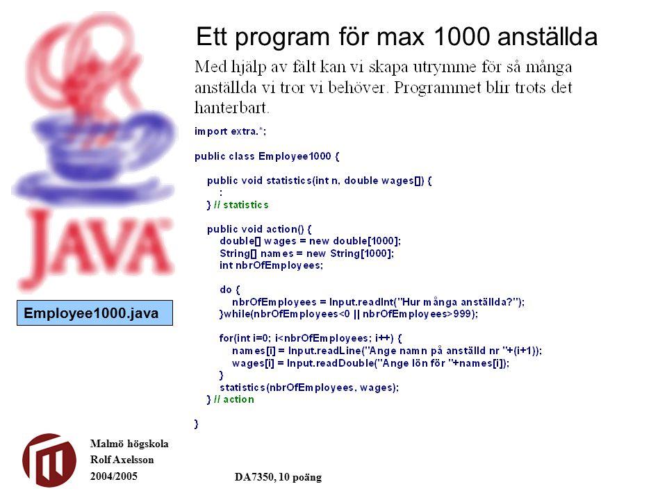 Malmö högskola Rolf Axelsson 2004/2005 DA7350, 10 poäng Ett program för max 1000 anställda Employee1000.java