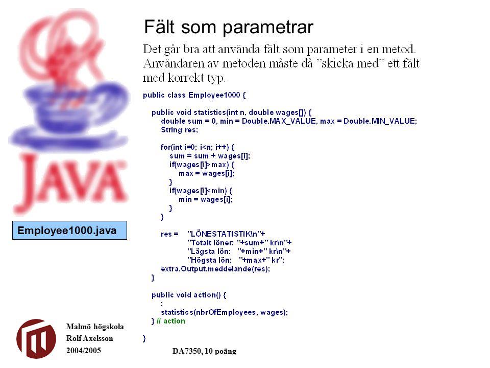 Malmö högskola Rolf Axelsson 2004/2005 DA7350, 10 poäng Fält som parametrar Employee1000b.java