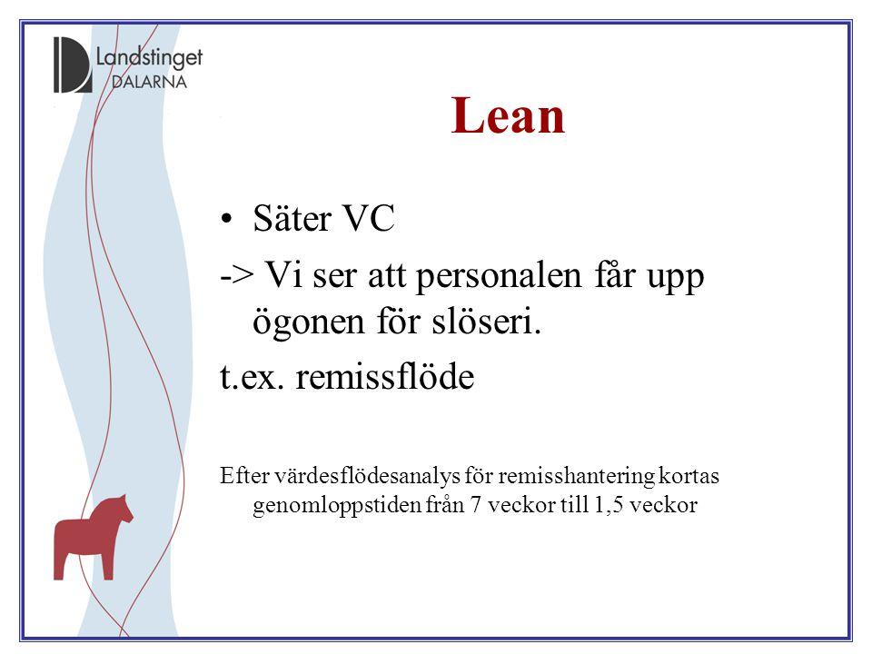 Lean Säter VC -> Vi ser att personalen får upp ögonen för slöseri. t.ex. remissflöde Efter värdesflödesanalys för remisshantering kortas genomloppstid