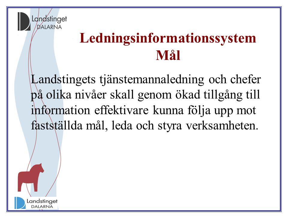 Ledningsinformationssystem Mål Landstingets tjänstemannaledning och chefer på olika nivåer skall genom ökad tillgång till information effektivare kunn