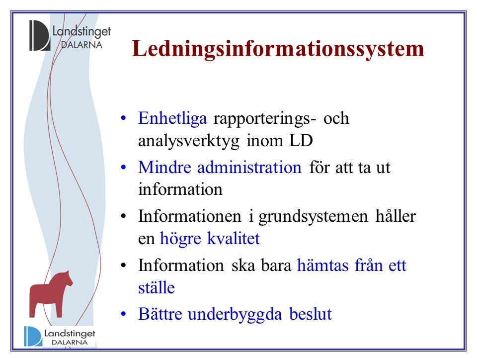 Ledningsinformationssystem Enhetliga rapporterings- och analysverktyg inom LD Mindre administration för att ta ut information Informationen i grundsys