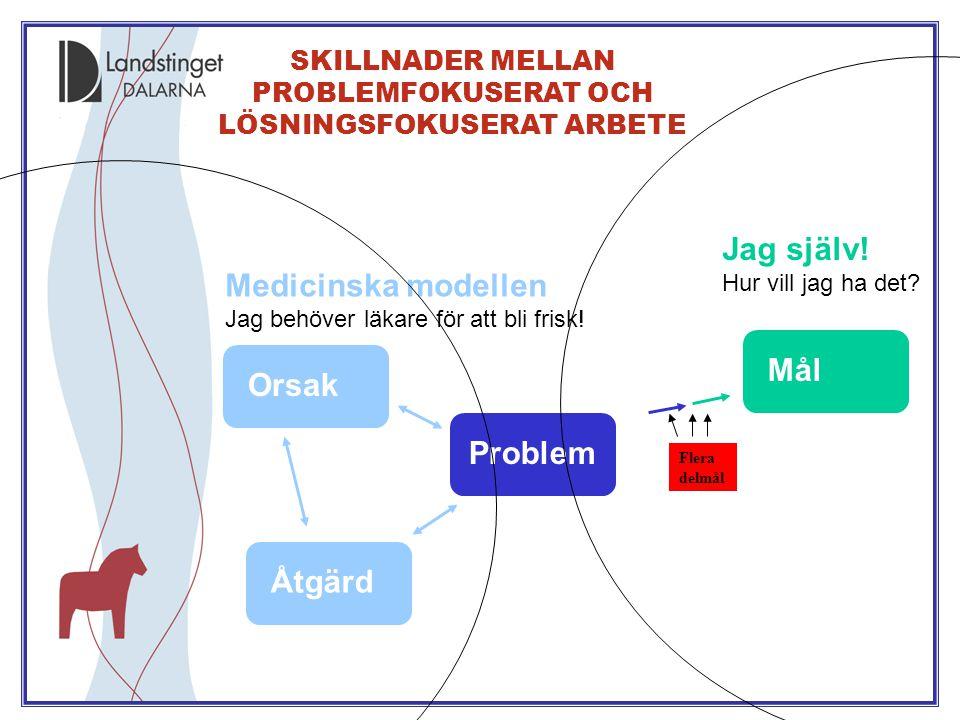 SKILLNADER MELLAN PROBLEMFOKUSERAT OCH LÖSNINGSFOKUSERAT ARBETE Problem Medicinska modellen Jag behöver läkare för att bli frisk! Orsak Åtgärd Jag sjä