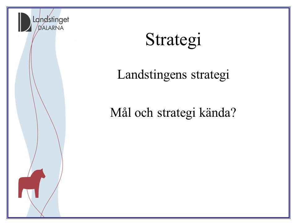 Strategi Landstingens strategi Mål och strategi kända?