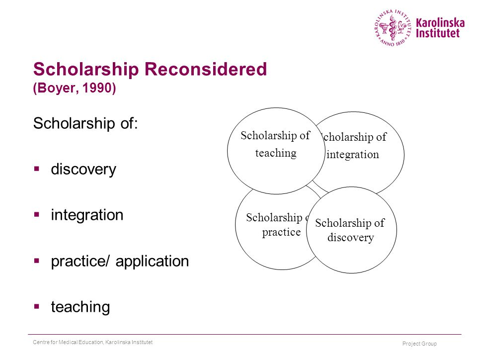 Project Group Centre for Medical Education, Karolinska Institutet Scholarship Reconsidered (Boyer, 1990) Scholarship of:  discovery  integration  practice/ application  teaching Scholarship of practice Scholarship of integration Scholarship of teaching Scholarship of discovery
