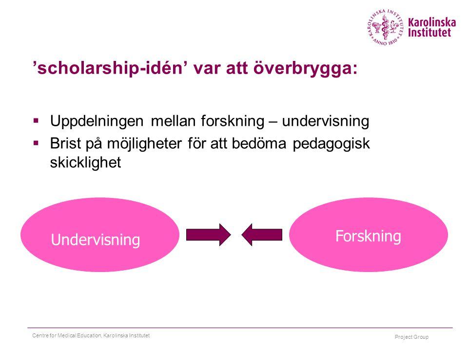 Project Group Centre for Medical Education, Karolinska Institutet 'scholarship-idén' var att överbrygga:  Uppdelningen mellan forskning – undervisnin