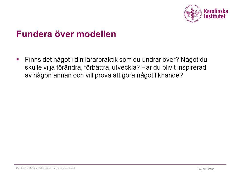 Project Group Centre for Medical Education, Karolinska Institutet Fundera över modellen  Finns det något i din lärarpraktik som du undrar över? Något