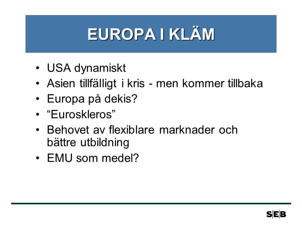 EUROPA I KLÄM USA dynamiskt Asien tillfälligt i kris - men kommer tillbaka Europa på dekis.