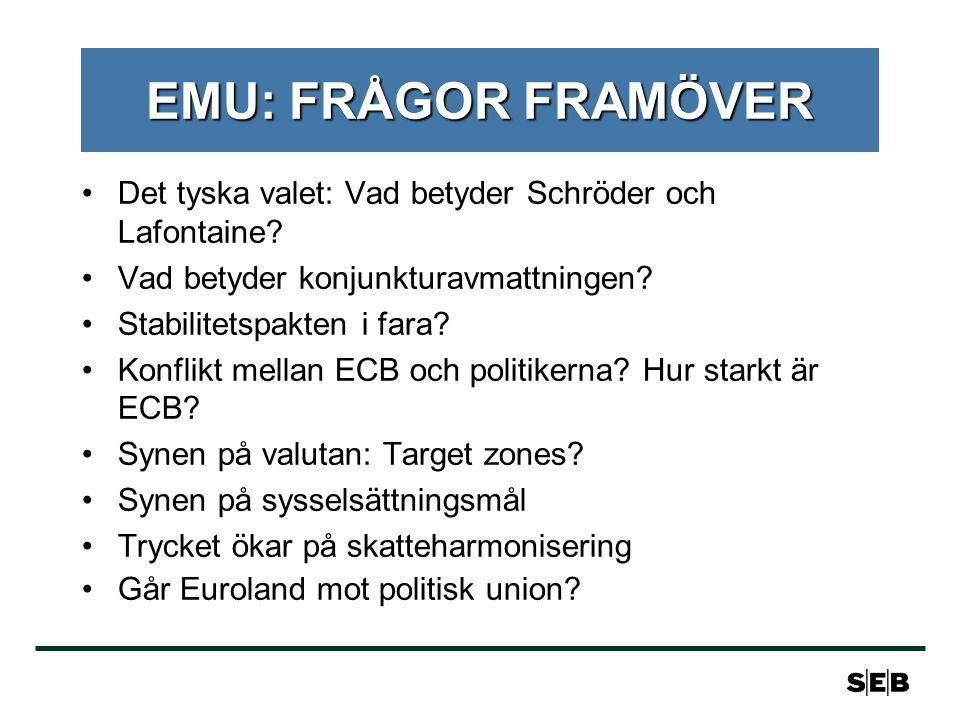 EMU: FRÅGOR FRAMÖVER Det tyska valet: Vad betyder Schröder och Lafontaine.