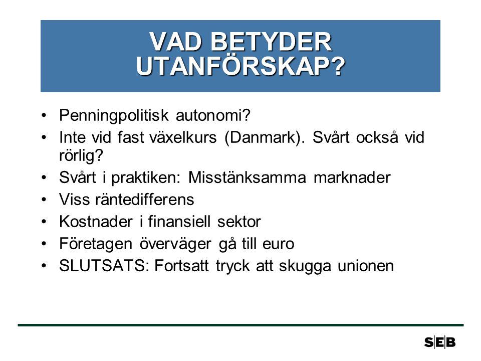 VAD BETYDER UTANFÖRSKAP. Penningpolitisk autonomi.